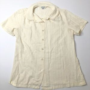 VTG 50s / 60s Sears Cream Blouse , Lace & Buttons